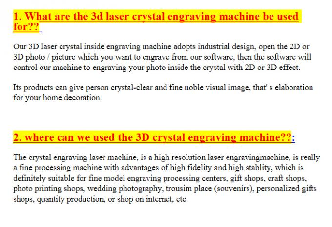 3D Crystal Laser Inner Engraving Machine 2000HZ speed 120,000 dots / Minute