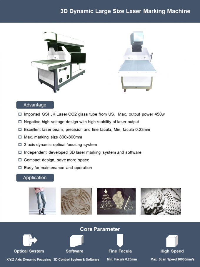 3D dynamic focusing large marking size CO2 laser marking machine for jeans